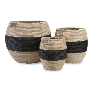 Reviews Wood 3 Piece Basket Set By Rosecliff Heights