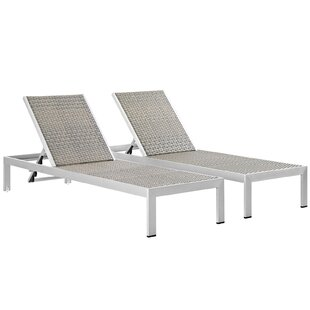 Coline Outdoor Patio Straps Single Chaise (Set of 2)