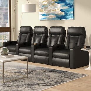 Home Theater Leather Recliner (Row of 4) by Latitude Run