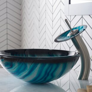 Compare prices Kluge Glass Circular Vessel Bathroom Sink with Faucet By Zipcode Design