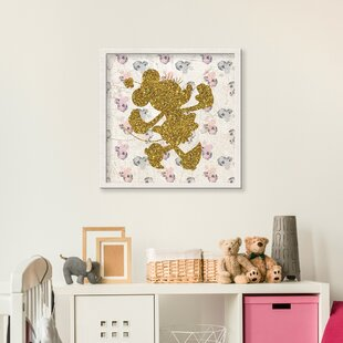 'Minnie Mouse Glitter Silhouette' Graphic Art Print on Wood in Gold (Set of 2)