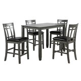 Lawrey 5 - Piece Rubberwood Solid Wood Dining Set by Red Barrel Studio®