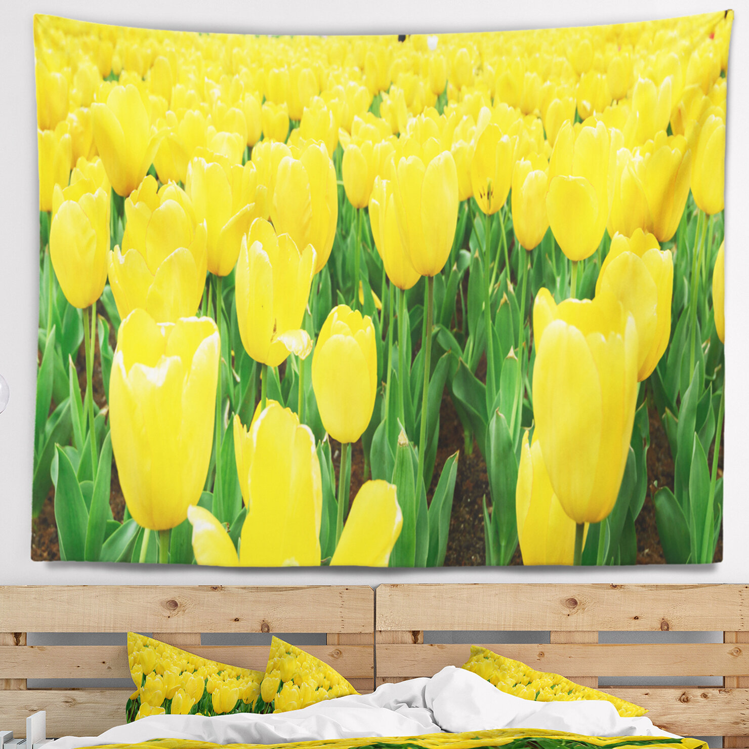 East Urban Home Bright Tulip Flowers in Garden Tapestry and Wall ...