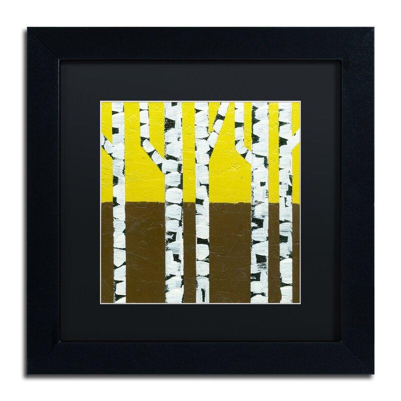 Trademark Art Seasonal Birches Fall By Michelle Calkins Framed Painting Print Wayfair