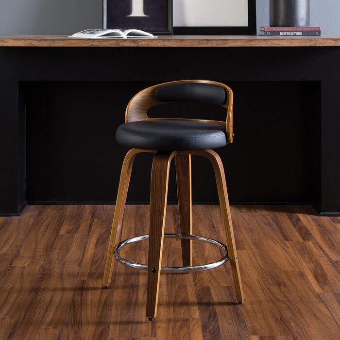 Admirable Labarre Mid Century Modern Low Back Bentwood Frame 24 Swivel Bar Stool Gmtry Best Dining Table And Chair Ideas Images Gmtryco