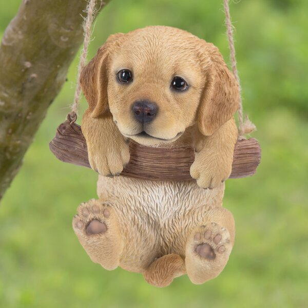 Hi Line Gift Ltd Hanging Golden Retriever Puppy Statue
