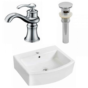 Order Ceramic 22 Wall-Mount Bathroom Sink with Faucet and Overflow ByRoyal Purple Bath Kitchen