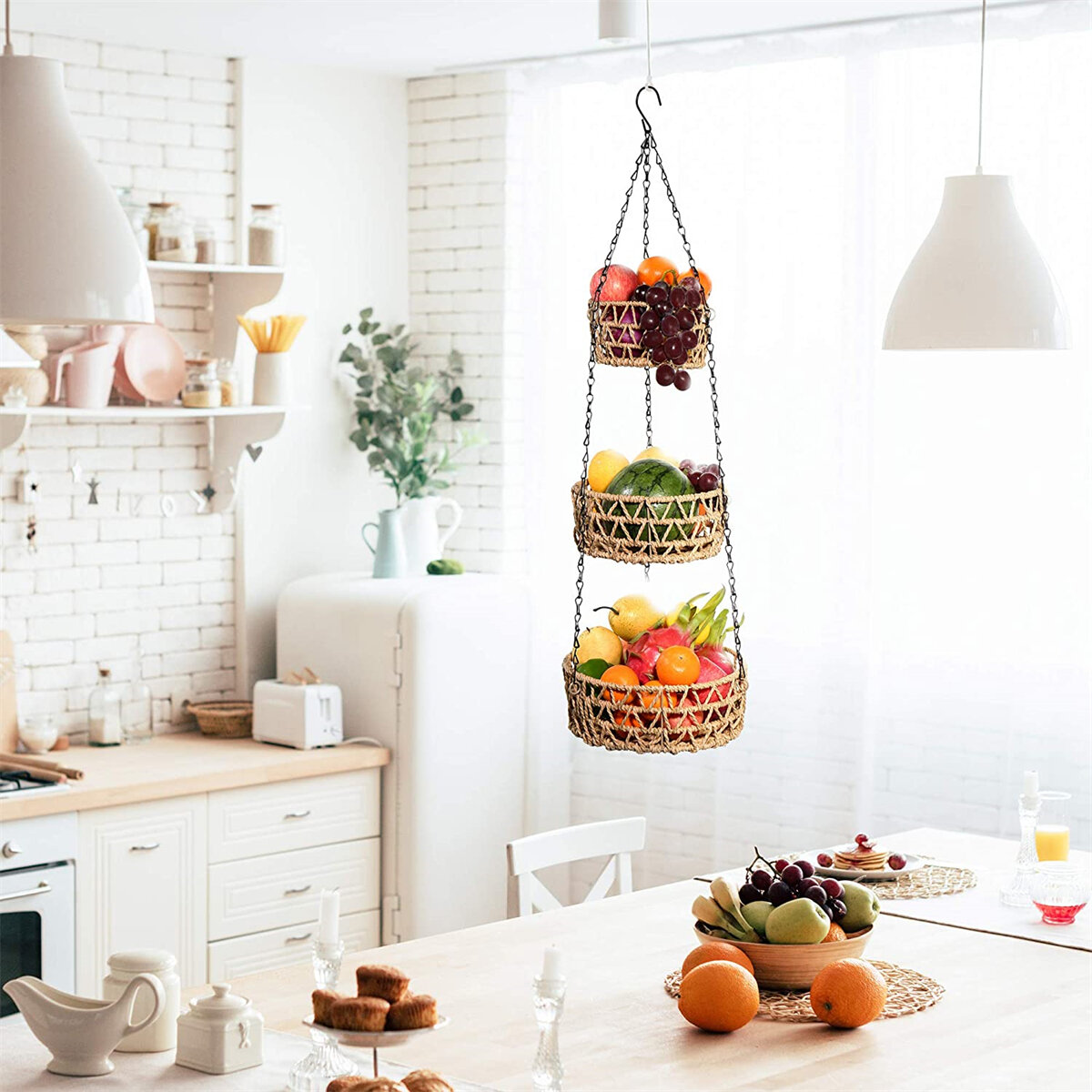 Bayou Breeze 3 Tier Hanging Fruit Basket Paper Rope Woven Vegetable Storage And Fruit Organizer Kitchen Countertop Space Saver Chain Adjustable In Height Wayfair