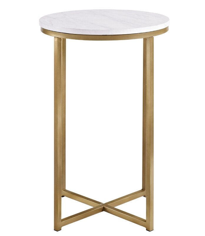 Everly quinn andromeda round side table reviews for Round gold side table