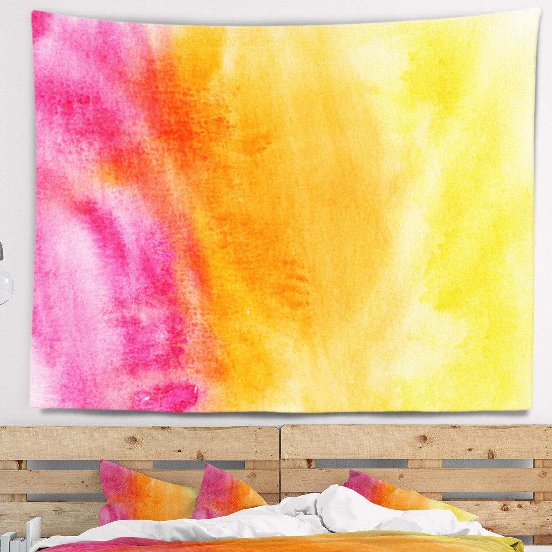 East Urban Home Abstract Yellow Purple Meet Orange Tapestry | Wayfair