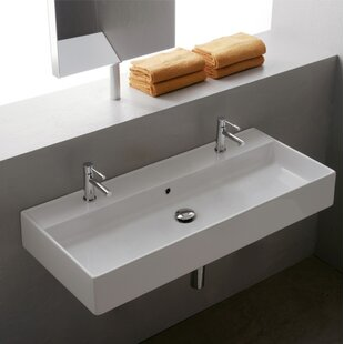Top Reviews Teorema Ceramic 40 Wall Mount Bathroom Sink with Overflow ByScarabeo by Nameeks