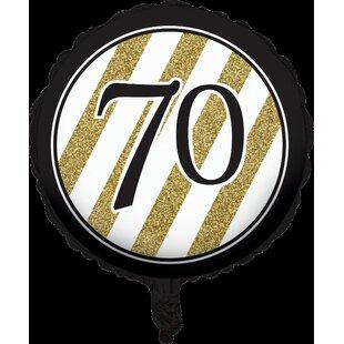 Black and Gold 70th Birthday Mylar Balloon