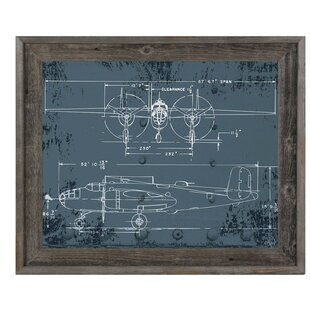 airplane blueprint reclaimed wood framed graphic art