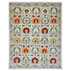 Roswell Traditional Oriental Hand Woven Wool Beige/Red Area Rug