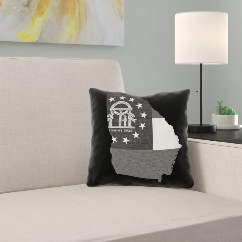 East Urban Home Brumit Georgia Flag Pillow In Faux Suede Double Sided Print Throw Pillow Wayfair