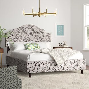 Marksbury Nail Button Notched Upholstered Panel Bed by Wrought Studio