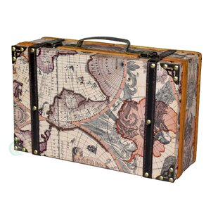 Quickway Imports Old World Map Wooden Small Trunk