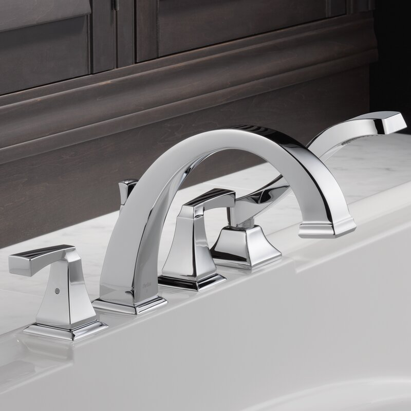Dryden Roman Two Handle Deck Mount Tub Faucet Trim With Hand Shower