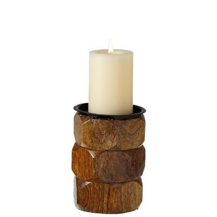 Stacked Hexagon Pillar Candle Holder