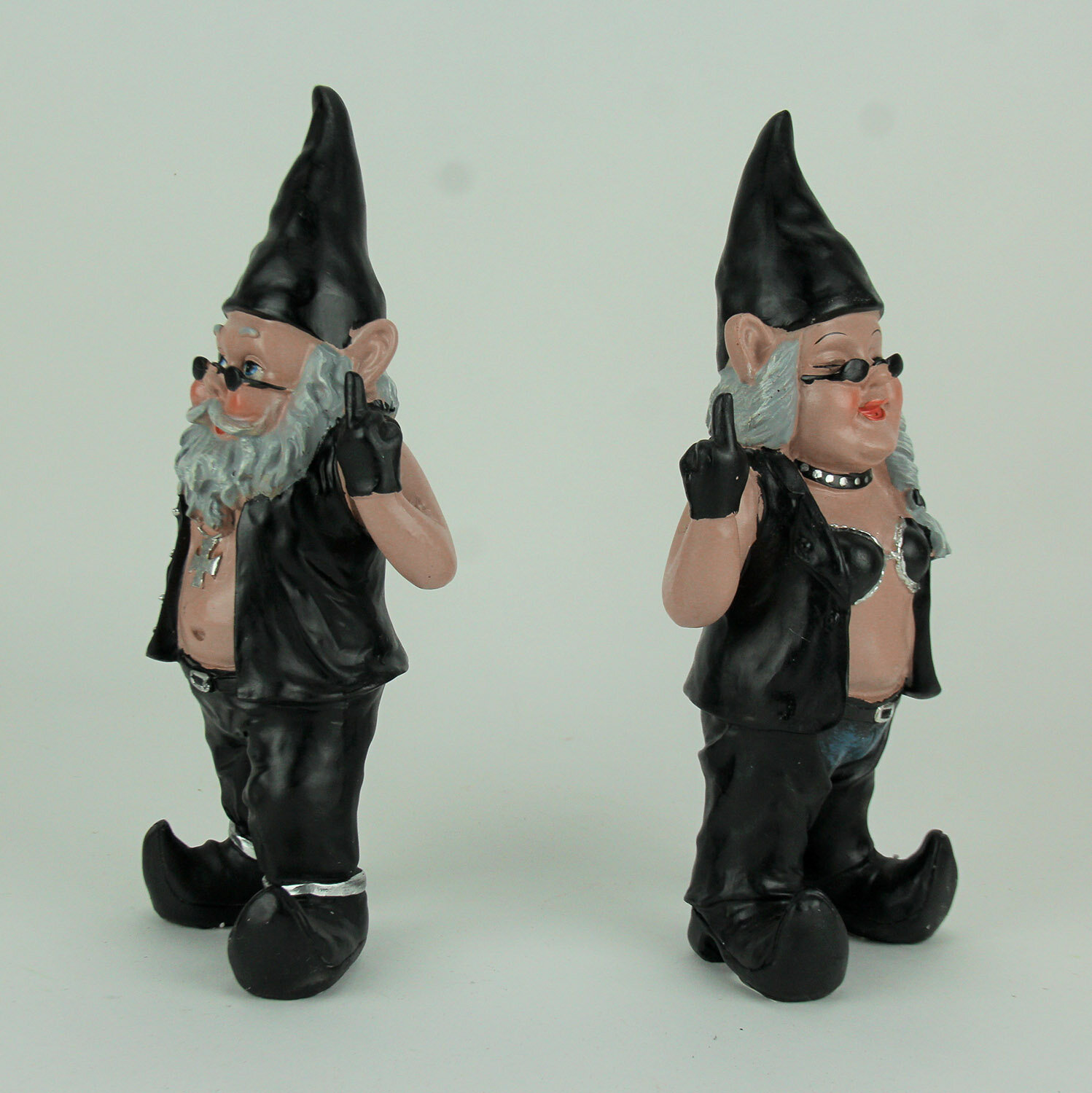Ebros Whimsical Gnome With Greeting Signs Statues 4 Tall Collectible Set of 4 Welcome Gnome Family Figurines