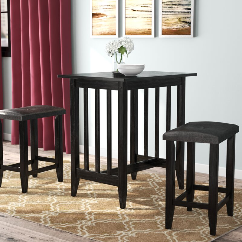 Roundhill Furniture 3 Piece Counter Height Pub Table Set: Andover Mills Richland 3 Piece Counter Height Pub Table