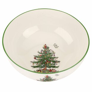 christmas tree large round serving bowl