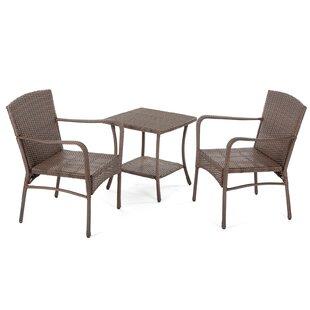 Gracie Oaks Warrick Outdoor Garden 3 Piece 2 Person Seating Group