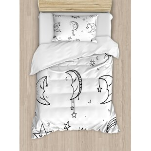 Sketchy Hand Drawn Image Of Sun Moon Stars Emoji Nursery Room Art Print Duvet Cover Set