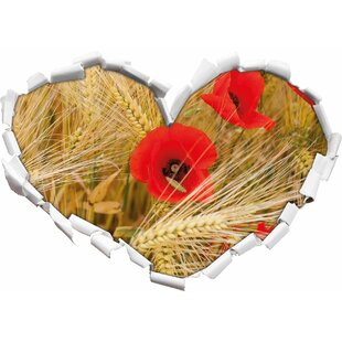 Red Poppies In A Corn Field Wall Sticker By East Urban Home