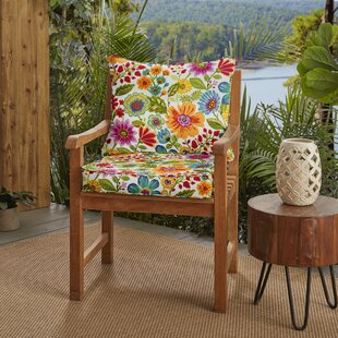 Floral Piped Indoor/Outdoor Lounge Chair Cushion