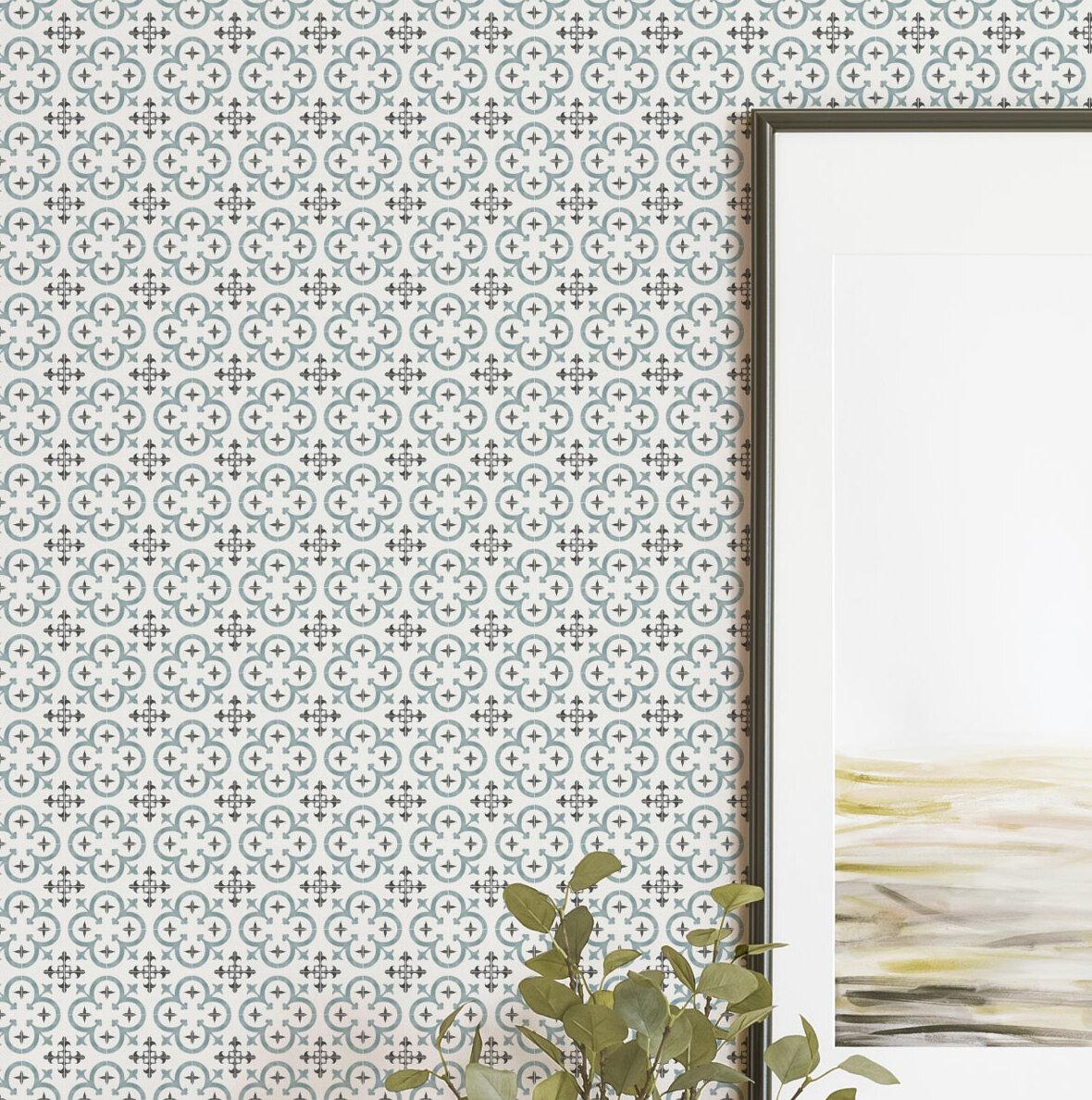 Bungalow Rose Wabbaseka Flower Moroccan Paintable Peel And Stick Wallpaper Tile Wayfair