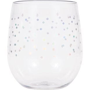 4474a4d5efa Hartselle Iridescent Dots 14 oz. Plastic Stemless Wine Glass (Set of 6)