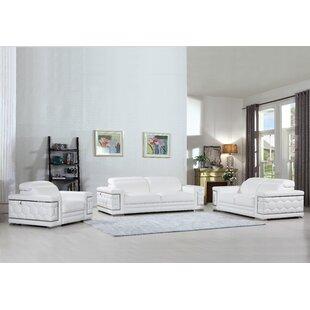 Hawkesbury Common Luxury Italian Upholstered Complete Leather 3 Piece  Living Room Set
