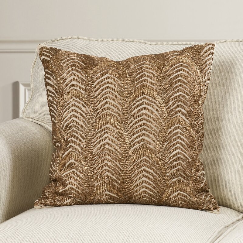 Debage Inc Mirasol Beaded Gold Wave Down Feather Throw Pillow Wayfair