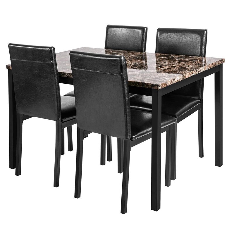 Red Barrel Studio 5 Piece Faux Marble Dining Table Set With 4 Pu Leather Chairs Dining Table Set For 4 For Breakfast Dining Room Kitchen Furniture Pub And Bistro Dark Grey Reviews Wayfair Ca