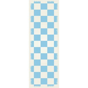 Read Reviews Wenger Light Blue/White Indoor/Outdoor Area Rug By Winston Porter
