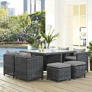 Brayden Studio Alaia 9 Piece Rattan Sunbrella Dining Set with Cushions