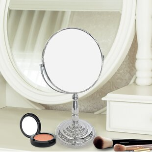 Affordable Dixson Round Double Sided Magnifying Standing Makeup/Shaving Mirror ByCharlton Home