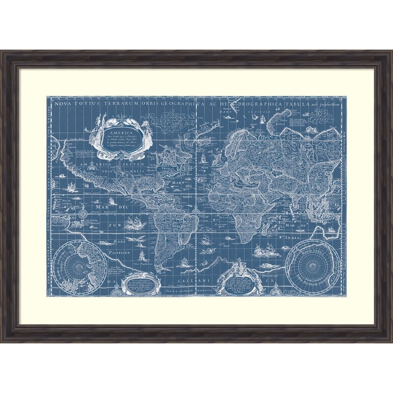 Darby Home Co \'Blueprint World Map\' Framed Graphic Art Print on Wood ...