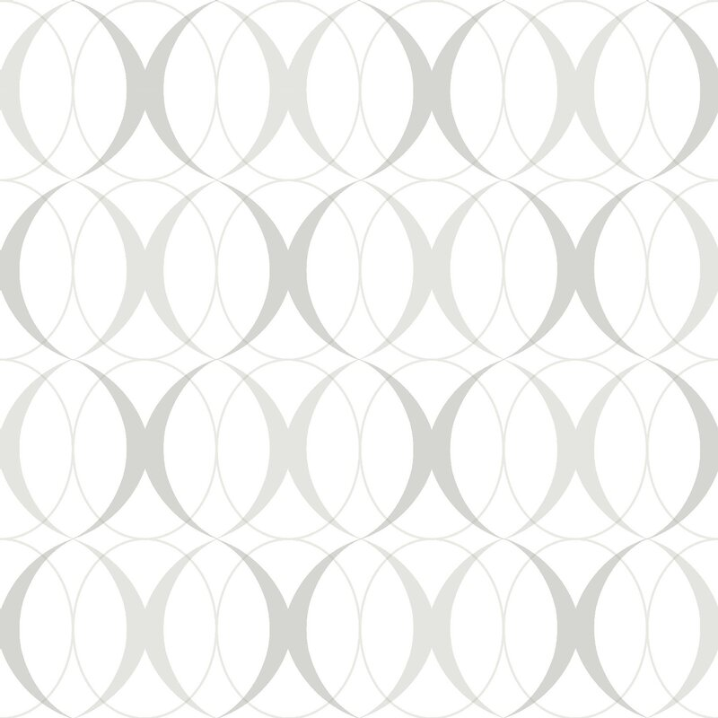 "Nu 18' x 20.5"" Circulate Light Silver Wallpaper Roll"