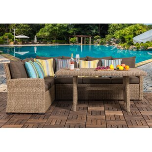 Stone 3 Piece Rattan Sectional Seating Group with Cushion