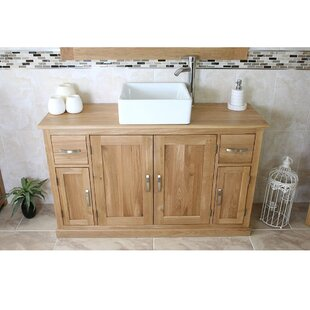 Edmondson Solid Oak 123mm Free-Standing Vanity Unit By Gracie Oaks