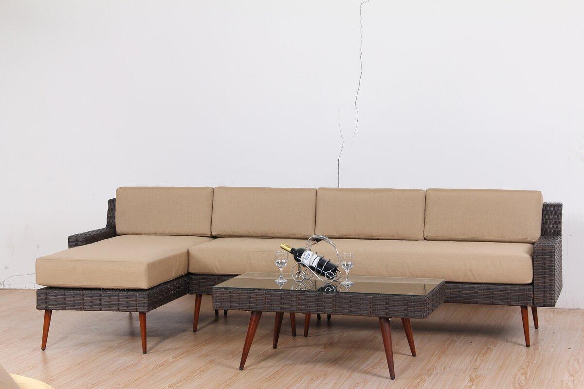 sofa set. Sienna 4 Piece Rattan Sofa Set With Cushions E