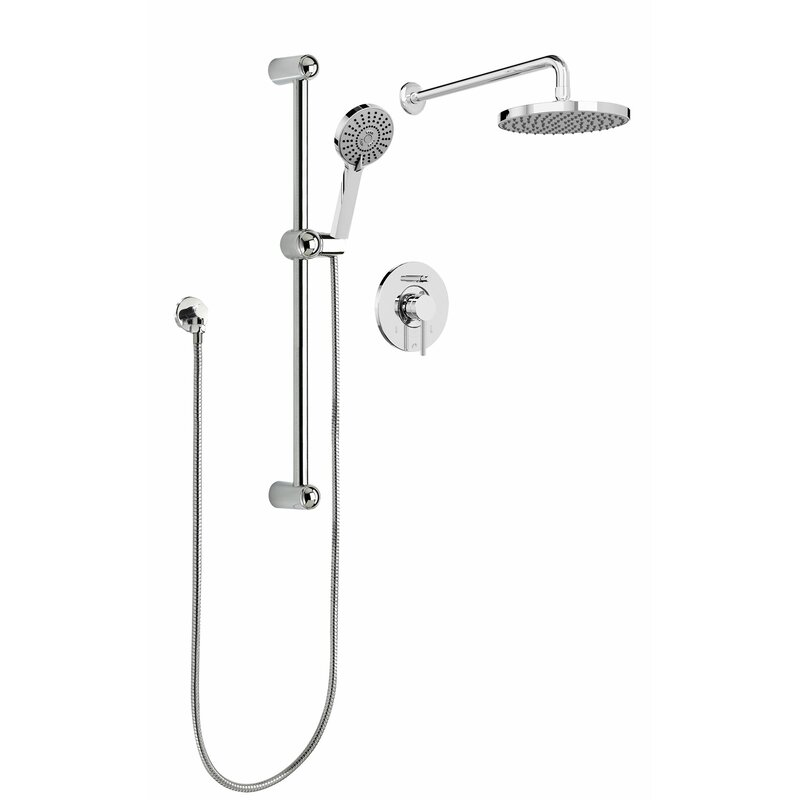 Sleek Round Rain Faucet Pressure Balanced Dual Function Shower Head Complete System