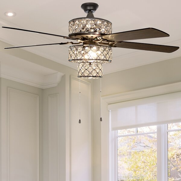 Ceiling Fans Crystal Ceiling Fan Led Ceiling Fan Lamp 32inch 3 Leaf With 2 Size Rod For Livingroom Bedroom Dinning Room