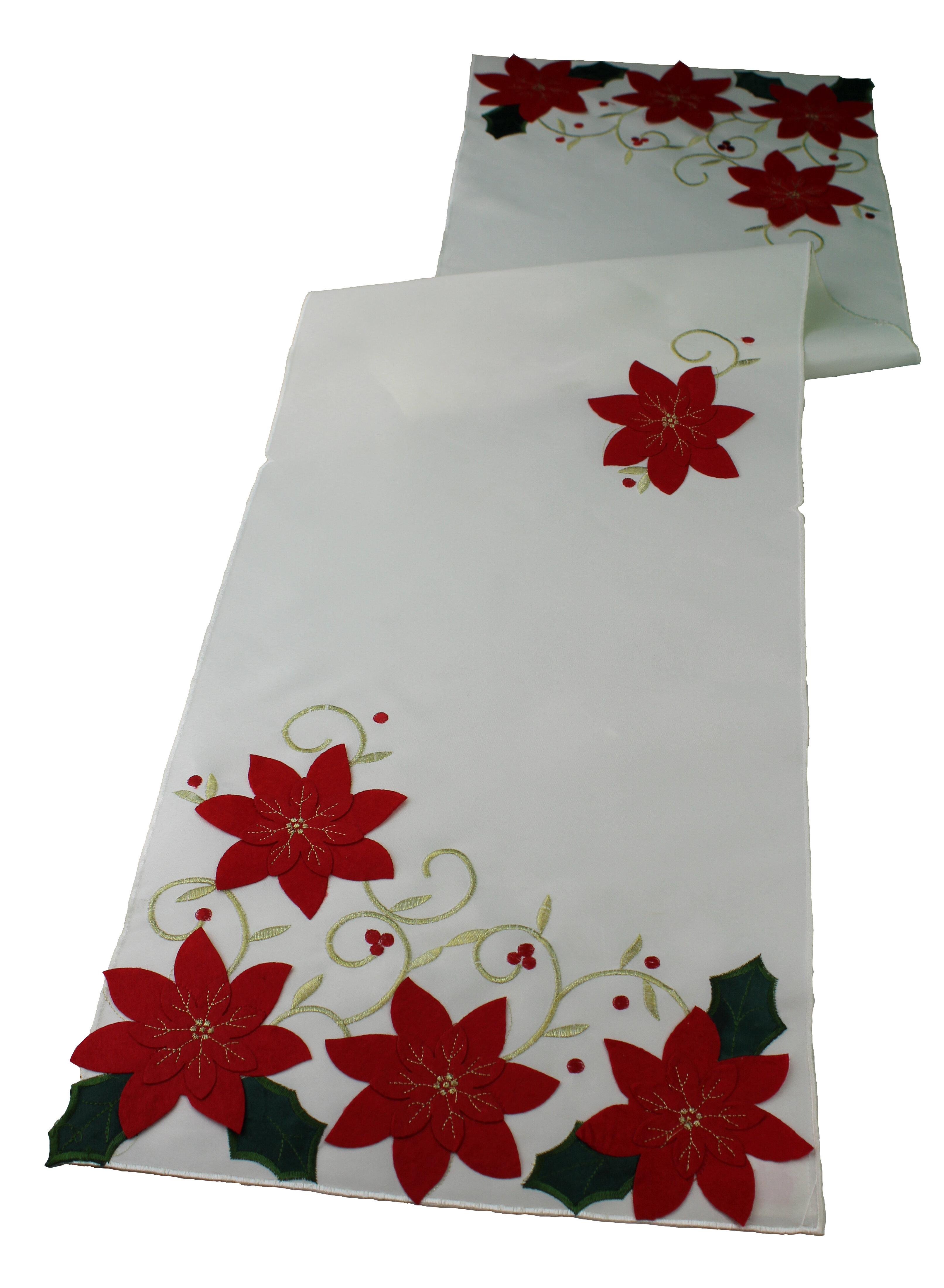 The Holiday Aisle Puma Poinsettias Holiday Christmas Decorative Table Runner  U0026 Reviews | Wayfair