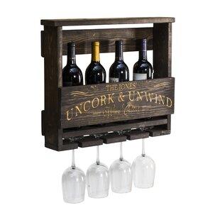 Gracie Oaks Fruitvale Uncork and Unwind Personalized 4 Bottle Wall Mounted Wine Rack