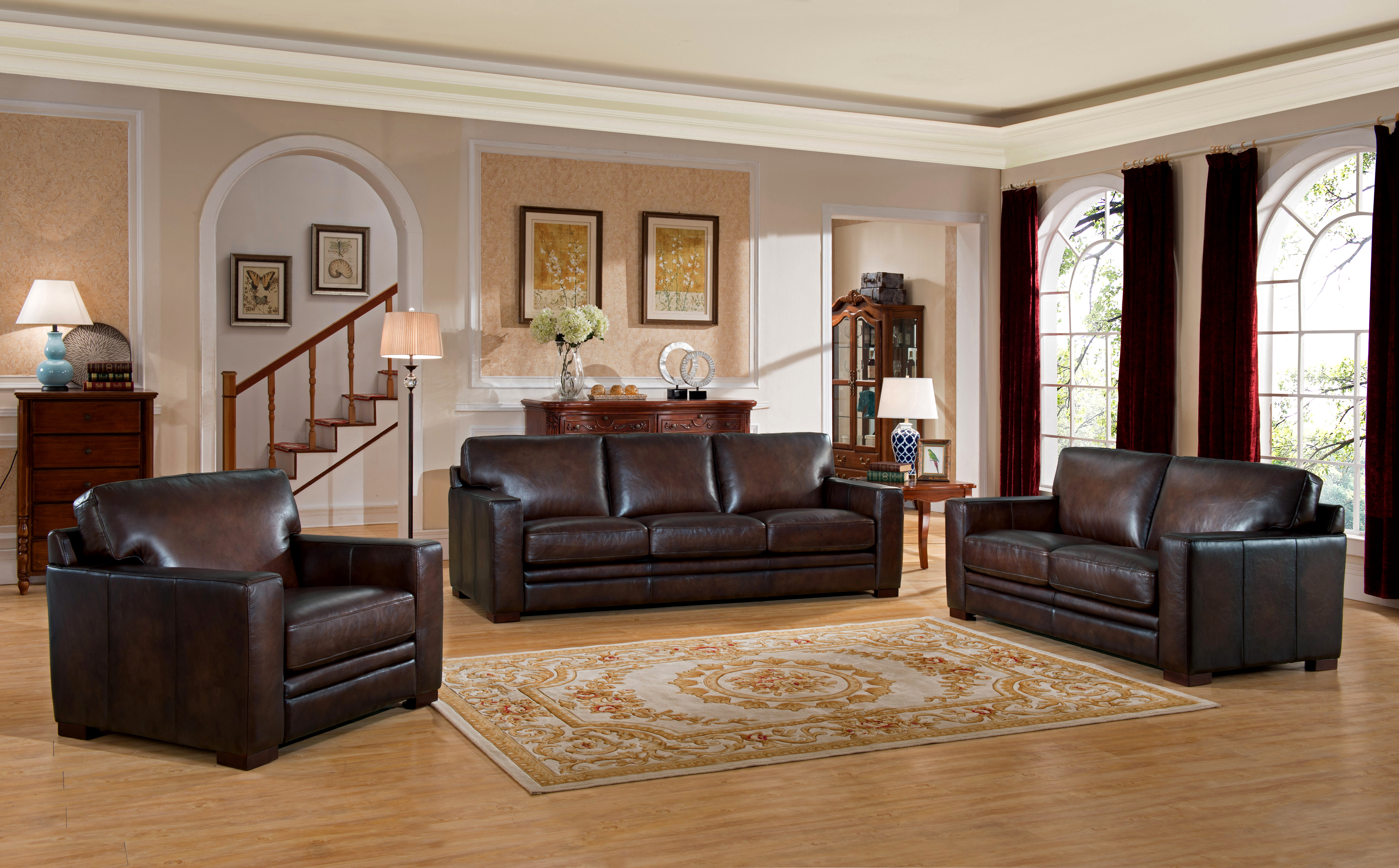 World Menagerie Mcdonald Traditional Leather 3 Piece Living Room Set |  Wayfair