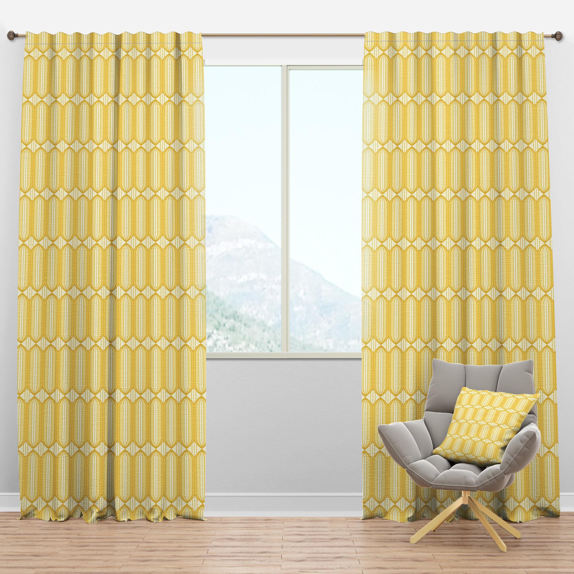 Designart Mid Century Ornamental Design Iii Geometric Semi Sheer Thermal Rod Pocket Curtain Panels Wayfair
