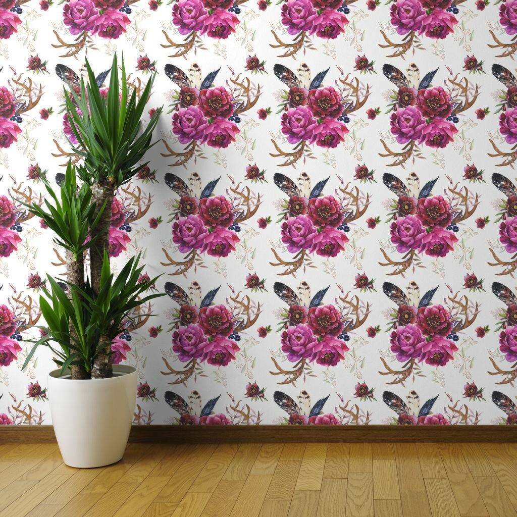 Mercer41 Orton Boho Florals Removable Peel And Stick Wallpaper